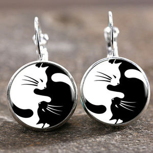 BLACK & WHITE CAT EARRINGS YING & YANG